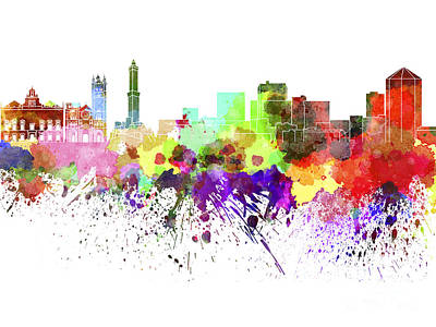 Genoa Painting - Genoa Skyline In Watercolor On White Background by Pablo Romero