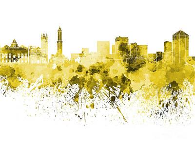 Genoa Skyline In Yellow Watercolor On White Background Art Print