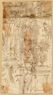 Wash Drawing - Genoese 17th Century, An Architectural Study With An by Quint Lox