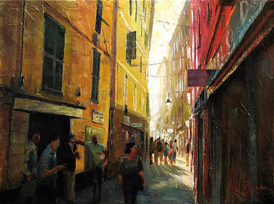 Tuscan Sunset Painting - Genova Italy Winding Alleyway by Christopher Clark