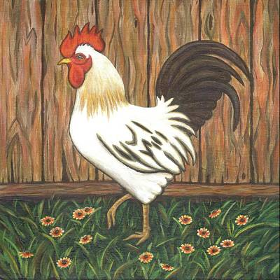 Chicken Painting - Gent The Rooster by Linda Mears