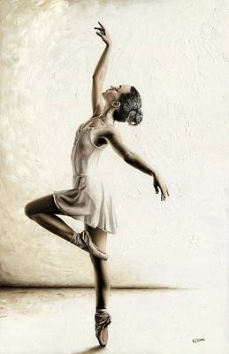 Grey Dress Painting - Genteel Dancer by Richard Young