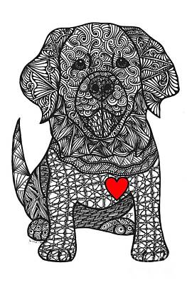 Drawing - Gentle Giant- Golden Retriever by Dianne Ferrer