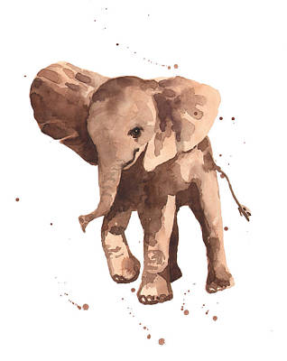 Elephants Painting - Gentle Graham Elephant by Alison Fennell