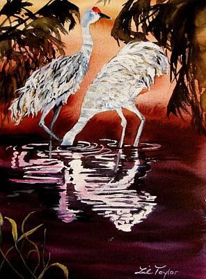 Crane Painting - Gentle Sandhills by Lil Taylor
