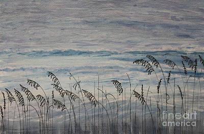 Gentle Sea Oats Line Atlantic Ocean Art Print by DJ Laughlin