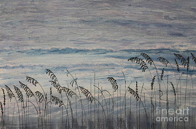 South Sea Mixed Media - Gentle Sea Oats Line Atlantic Ocean by DJ Laughlin