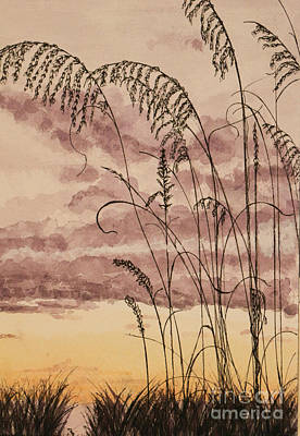 South Sea Mixed Media - Gentle Sway Sea Oats by DJ Laughlin
