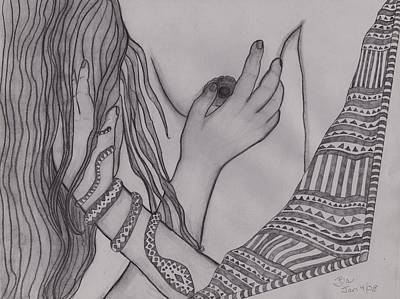Caress Drawing - Gentle Touch by Barbara St Jean