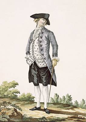 Gentleman In Grey Walking Suit Art Print by Pierre Thomas Le Clerc