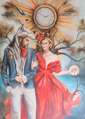 Red Heart Painting - Gentleman In Wolf's Clothing by Jacque Hudson