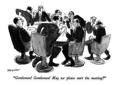Wrestling Drawing - Gentlemen!  Gentlemen!  May We Please Start by James Stevenson
