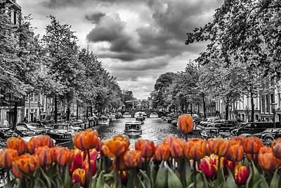 River Digital Art - Gentlemen's Canal  Amsterdam by Melanie Viola