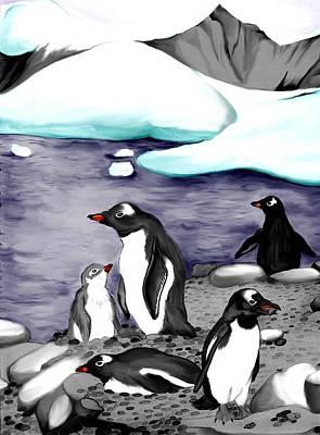 Gentoo Penguins Art Print
