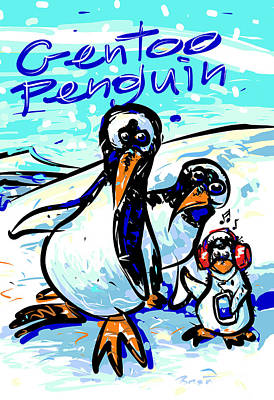 Cold Temperature Drawing - Gentoo Penguins by Brett LaGue