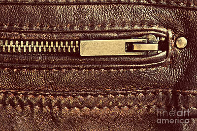 Wrinkle Photograph - Genuine Brown Leather With Zip And Seam by Michal Bednarek