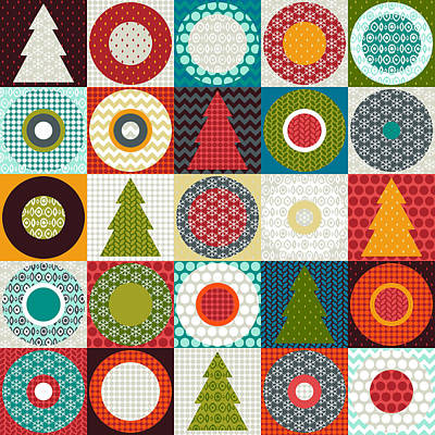Pattern Drawing - Geo Christmas by Sharon Turner