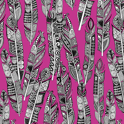 Boho Drawing - Geo Feathers Hot Pink by Sharon Turner