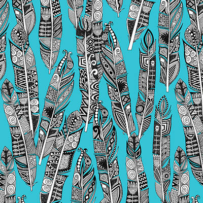 Turquoise Drawing - Geo Feathers Turquoise Blue by Sharon Turner