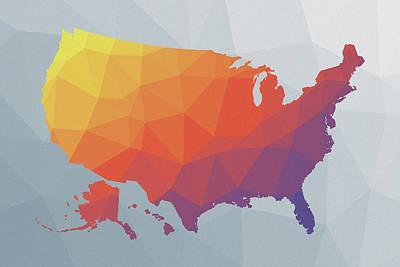 Purple And Gray Painting - Geo Map II by Moira Hershey
