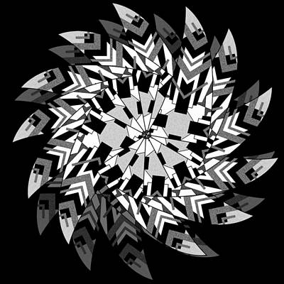 Digital Art - Geo Matrix Black And White 2 by Brian Johnson