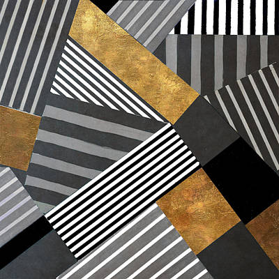 Abstract Pattern Painting - Geo Stripes In Gold And Black II by Lanie Loreth
