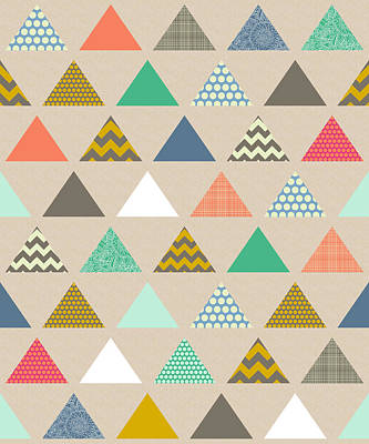 Linen Wall Art - Drawing - Geo Triangles by MGL Meiklejohn Graphics Licensing