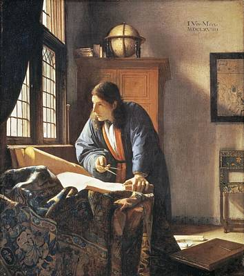 Painting - Geographer, 1669  by Jan Vermeer
