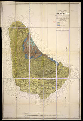 Cartography Photograph - Geological Map Of Barbados by British Library