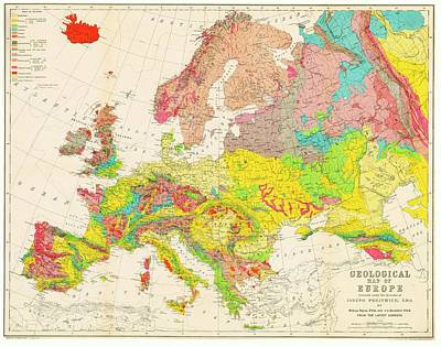 1860s Photograph - Geological Map Of Europe by American Philosophical Society