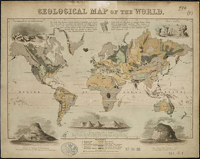 World Map Photograph - Geological Map Of The World by British Library