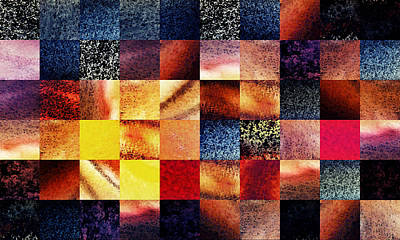 Abstract Digital Painting - Geometric Abstract Design Sunrise Squares by Irina Sztukowski