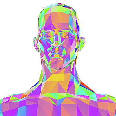 Geometric Abstract Polygonal Male Head Art Print