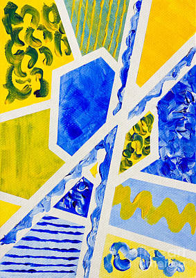 Geometric Blue And Yellow Abstract Acrylic Painting Art Print by Beverly Claire Kaiya