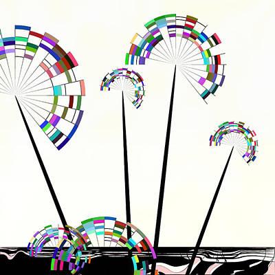 Dandelion Digital Art - Geometric Dandelion by GuoJun Pan