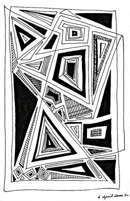 Abstract Shapes Drawing - Geometric Doodle 2 by Sarah Loft