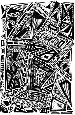 Abstract Shapes Drawing - Geometric Doodle by Sarah Loft