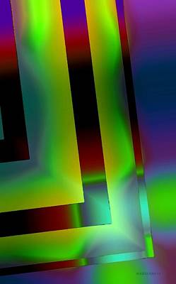 Geometric Glow Green  Art Print by Mario Perez