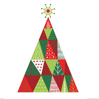 Geometric Holiday Trees I Print by Michael Mullan