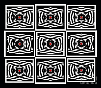 Geometric Op Art Black White Red Digital Abstract Print No.378. Art Print by Drinka Mercep