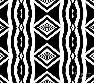 Digital Art - Geometric Pattern Abstract Black White Art No.339. by Drinka Mercep