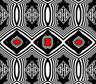 Digital Art - Pattern Black White Red Op Art No.389. by Drinka Mercep