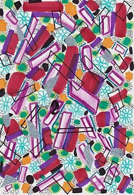Colored Pencil Abstract Mixed Media - Geometric Sky by Rosalina Bojadschijew