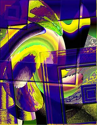 Geometrical Art With Yellow And Lilac Art Print by Mario Perez