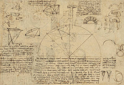 Pen Drawing - Geometrical Study About Transformation From Rectilinear To Curved Surfaces And Vice Versa From Atlan by Leonardo Da Vinci