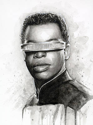 Movie Stars Painting - Geordi La Forge - Star Trek Art by Olga Shvartsur