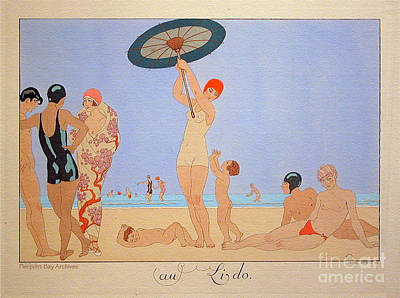 Artful And Whimsical Digital Art - George Barbier Au Lido Beach Bathers by Pierpoint Bay Archives