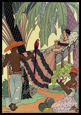 Watermelon Drawing - George Barbier. Spanish Lady In Hammoc With Parrot.  by Pierpont Bay Archives