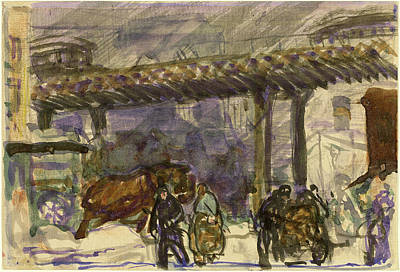 Brooklyn Bridge Drawing - George Bellows, A Winter Day - Under The Elevated by Quint Lox