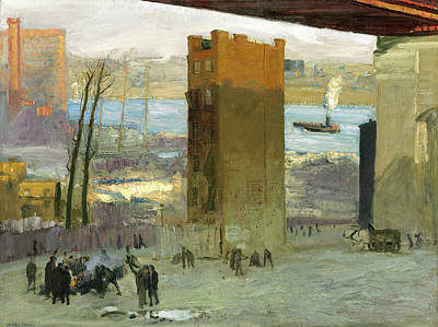 Tenements Painting - George Bellows, The Lone Tenement, American by Quint Lox